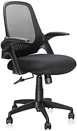 Mesh Desk Chairs Swivel Computer Task Chairs with Adjustable Height and Flip-up Armrest Mid-Back Office Chair Lumbar Support and Sponge Cushion in Black Ergousit
