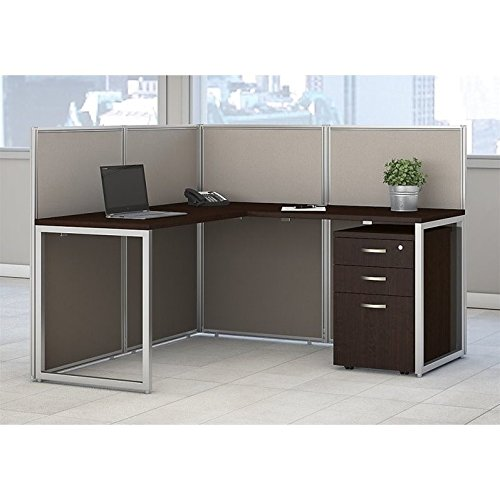 Bush Business Furniture Easy Office 60W L Shaped Desk Open Office with Mobile File Cabinet in Mocha Cherry ()