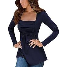 YesFashion Women Ruched Square Neck Slim A-line Top Tunic Dress Shirt