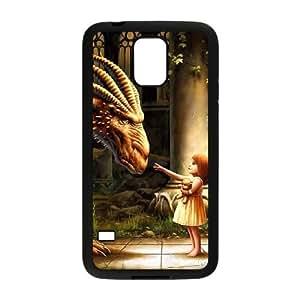 Caso antiguo del dragón Samsung Galaxy S5 cubierta Negro Funda caja del teléfono celular Funda Cubierta EDGCBCKCO00247