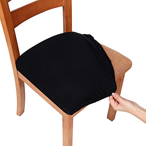 smiry Stretch Spandex Jacquard Dining Room Chair Seat Covers, Removable Washable Anti-Dust Dinning Upholstered Chair Seat Cushion Slipcovers - Set of 4, Black (Best Fabric For Kitchen Chair Cushions)