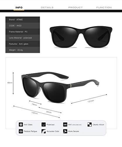 C4 hombres de gafas sol mujeres de UV400 clásico para Ultra Protección Retro conducción de estilo ATNKE Light antideslumbrante polarizadas zUw5dzxq