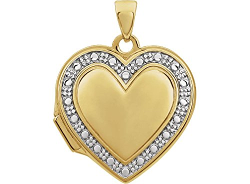 14k Yellow Gold, 14k White Gold Two Tone Heart Locket by The Men's Jewelry Store (for HER)