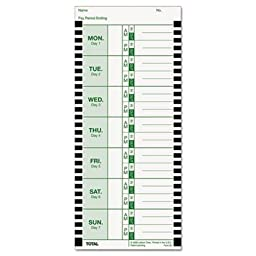 LTHE8100 - Time Card for Lathem Model 800P