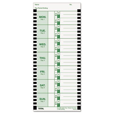 (Time Card for Lathem Model 800P, 4 x 9, Weekly, 1-Sided, 100/Pack, Sold as 2 Package)