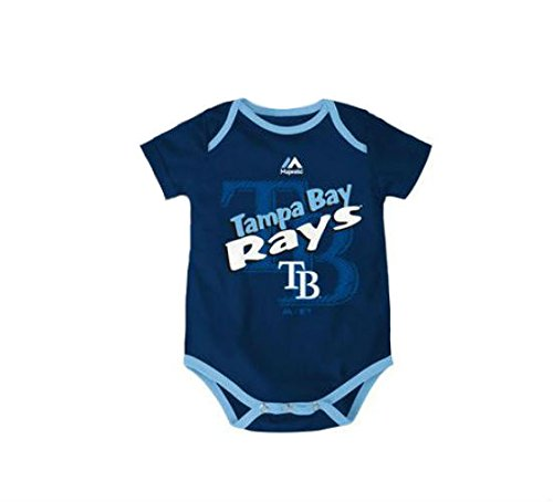 Tampa Bay Rays Infant Size 0-3 Months Double Logo Onesie / Bodysuit - Navy & Light Blue Creeper