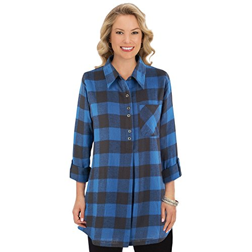Collections Etc Women's Buffalo Plaid Tunic Top w/Roll Tab Sleeves, Blue/Black, XX-Large Buffalo Plaid Tunic Top