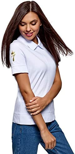 oodji Ultra Mujer Polo con Cremallera y Bordado: Amazon.es: Ropa y ...