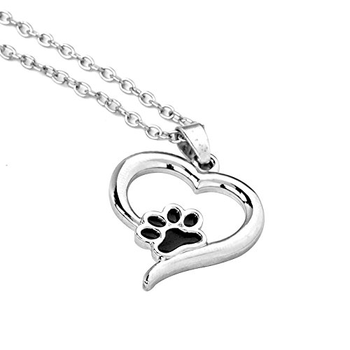 Childs Enamel Hearts (Hollow Pet Paw Print Necklaces Cute Animal Dog cat Memorial jewelry Pet Lover Puppy Paw Heart Charm Black Enamel Necklace Girls)