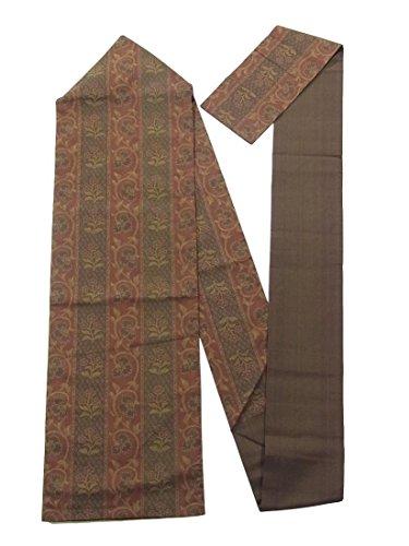 苦適格数学的なリサイクル 名古屋帯 縞に唐花や草花 正絹
