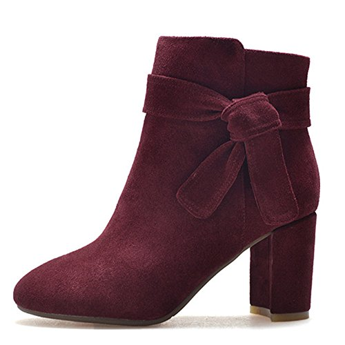 Nine Suede Block Burgundy Women's Toe Heel Round Handmade Bowknot Dressy Boot Ankle Seven Leather rYqnxr5