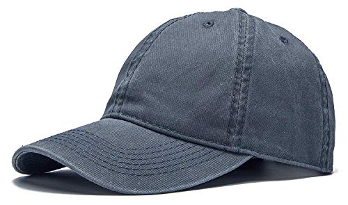 (ROWILUX Vintage Washed Twill Cotton Baseball Caps Low Profile Dad Hat, Dark Gray)