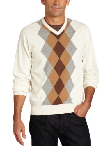 Van Heusen Men's Argyle Sweater, Khaki Silver Birch, Large