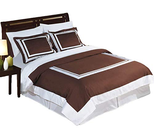Hotel Chocolate and White 3-Piece King / Cal-King Duvet-Cover-Set, 100-Percent Cotton, 300-Thread-Count