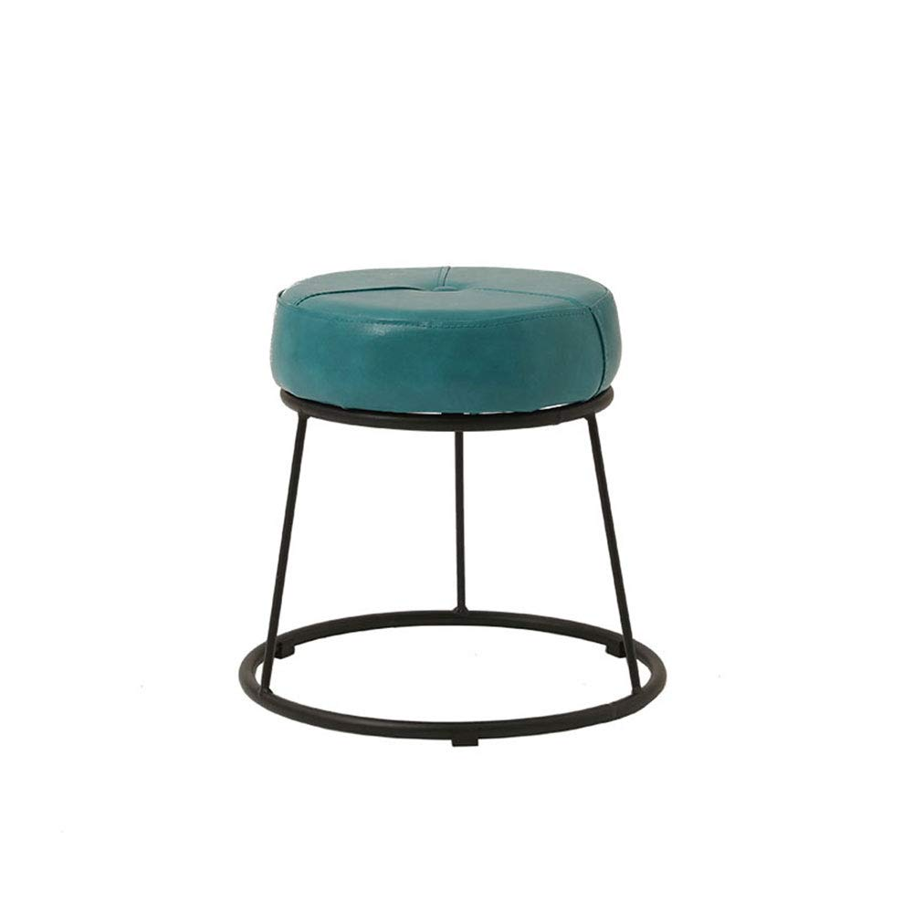 GreenBlack Small Wrought Iron Frame Stool PU Cushion colorful Choice High Resilience Sponge Restaurant Living Room Bedroom Dressing Table Stool (color   GreenWhite, Size   L)