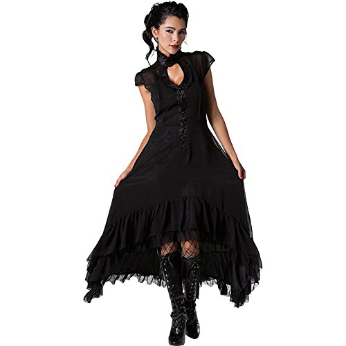 Jawbreaker Romantic Flowing Chiffon High Low Dress Black - Romantic Chiffon