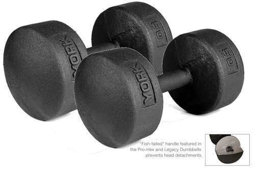 York Barbell 50 lb Legacy Solid Professional Round Dumbbells