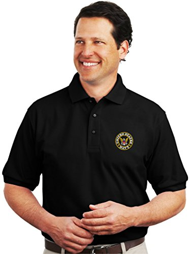 Spiffy Custom Gifts Mens U.S. Navy Logo Embroidered Polo Shirt 2XL Black by Spiffy Custom Gifts (Image #1)
