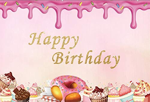 - OFILA Donut Backdrop 8x6ft Happy Birthday Photography Background Ice Cream Shoots Girls Donut Birthday Portraits Cake Smash Background Preschool Birthday Events Video Props
