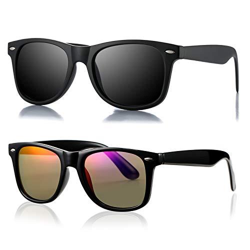 AZORB Classic Polarized Sunglasses Unisex Square Horn Rimmed Design (A911 Black/Black + Black/Purple Mirrored, ()