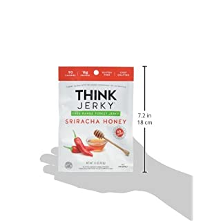 Sriracha Honey Turkey Jerky by Think Jerky — Delicious Chef Crafted Jerky — Free-Range Turkey With No Gluten or Antibiotics Added — Healthy Protein Snack Low in Calories and Fat — 1.5 Ounce (5 Pack)