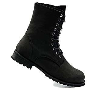 VFDB Men Military Combat Boots - Foldable Cuff Lace Up Boots -Flat Motorcycle Booties US 6.5