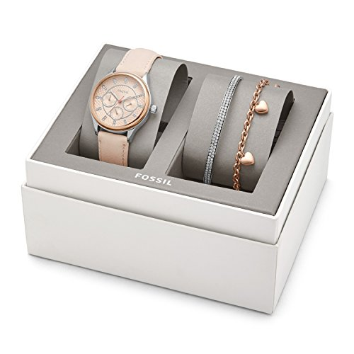 Fossil Modern Sophisticate Multifunction Nude Leather Watch And Jewelry Gift Set Bq3198set