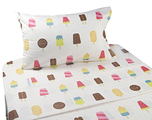J-pinno Cute Cartoon Ice Cream Popsicle Printed Twin Sheet Set for Kids Girl Children, 100% Cotton, Flat Sheet + Fitted Sheet + Pillowcase Bedding Set (popsicle) (Twin Printed Set)