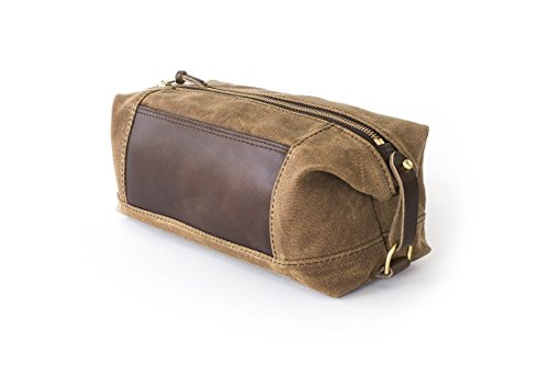 Waxed Canvas Dopp Kit: Expandable, Water-Resistant, Hanging Toiletry Bag, Travel, Brown - No. 321 (Made in the USA) by Sivani Designs