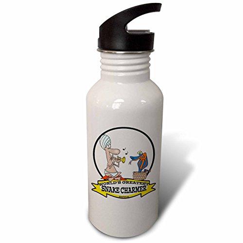 3dRose Dooni Designs Worlds Greatest Cartoons - Funny Worlds Greatest Snake Charmer Cartoon - Flip Straw 21oz Water Bottle (wb_103558_2) (Funny Snake Charmer)