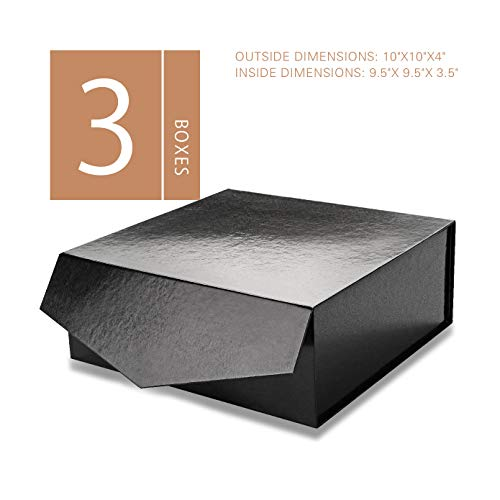 MALICPLUS Luxury Gift Boxes with Lids, Square 10x10x4 Inches, Bridesmaids Proposal Boxes, Sturdy Boxes Storage Boxes Collapsible Magnetic Closure Gift Boxes (Embossing Glossy Black, 3 Boxes)