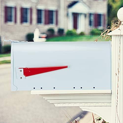 relaxdays Buzón Americano Vintage Original, Bandera Roja, US Mailbox Exterior, Acero, 1 Ud, 25x19x52,5 cm, Blanco: Amazon.es: Hogar
