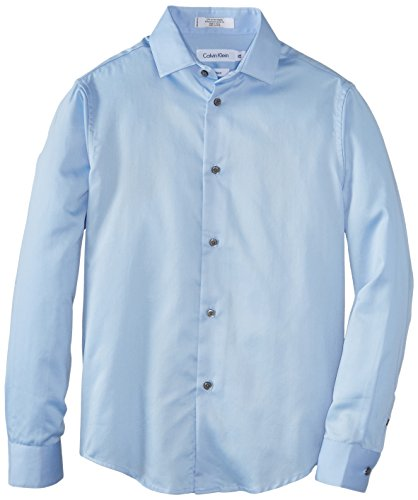 (Calvin Klein Big Boys' Long Sleeve Sateen Dress Shirt, Light Blue,)