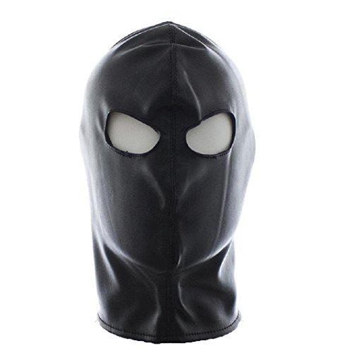 [Raycity Black Leather Costume Gimp Mask Hood Style 10] (The Gimp Costume)