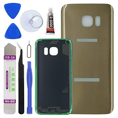 LUVSS [Extra Adhesive] Back Glass Replacement Samsung Galaxy S7 G930 (All Carriers) Rear Cover Glass Panel Case Housing Opening Tools Kit (Gold)