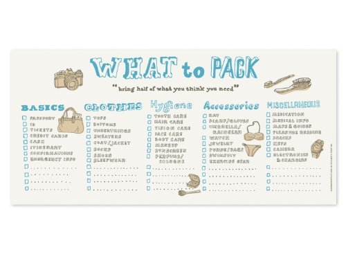 Knock Knock 9.5 x 4.5 Inches Horizontal What to Pack Pad (13043) (Vacation Chipboard)