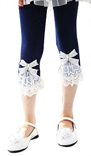 (Kids Girls Lace Flowers Trimmed Mini Legging Pants for Summmer, Navy)