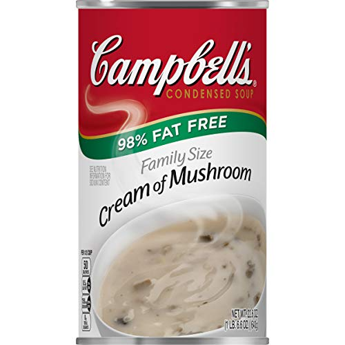Campbell'sCondensed Family Size 98% Fat Free Cream of Mushroom Soup, 22.6 oz. Can (Pack of 12) (Ingredients In Campbells Cream Of Mushroom Soup)