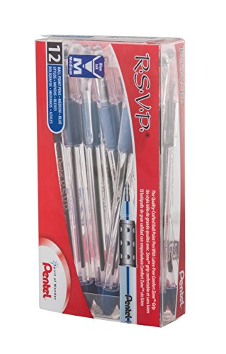 Pentel RSVP Ball Point Pen, Medium Line, 12-Blue Ink Pens (BK91PC12C)
