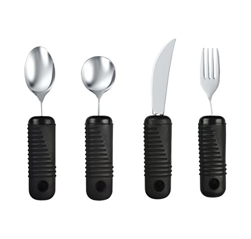 - Blue Jay Make Eating Easier Big Grip Utensil Set - Arthritis Aid Silverware Set, 1.5in Ribbed Made with Ribbed Rubber Handles and Stainless Steel, for Weak Grip, Latex-Free, Eating Aids