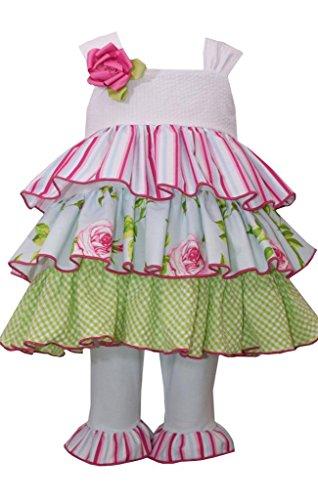 Bonnie Jean Little Girls Tiered Seersucker and Mixed Prints Dress, Sz 6