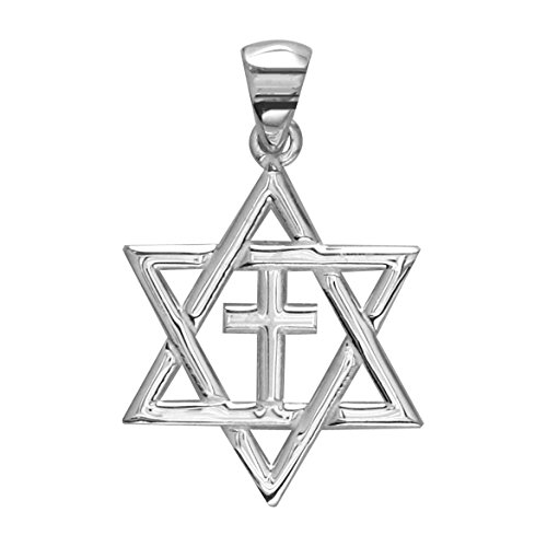 Small Messianic Star of David with Cross Charm in 14k White Gold