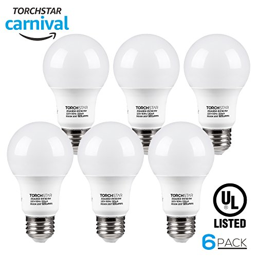 TORCHSTAR UL-listed A19 LED Light Bulb, 9W (60W Incandescent Equivalent), E26/E27 Base 820lm 3000K Warm White, Pack of 6 (Led E27 Bulb)
