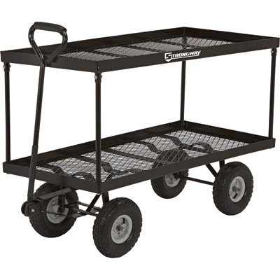 StrongWay Extra-Large Double Deck Wagon – Twin 48in.L x 24in.W Decks, 700-Lb. Capacity,