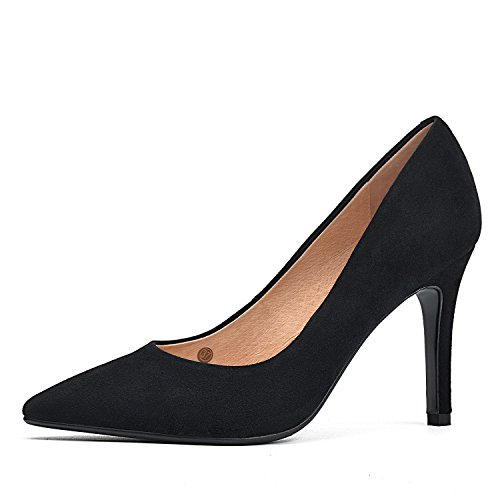 DONNAIN Women Pumps Genuine Leather High Heels Natural Suede Shoes for Women (8, (Black Suede Leather Classic Pumps)