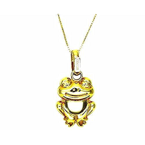 4b44272d14dd Pegaso Joyería – Collar oro amarillo 18 kt Veneta colgante rana rana bicolor  – Cadena para
