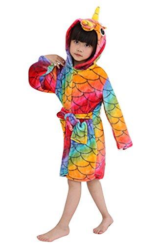 6581ba4fa7 JOXJOZ Kids Unicorn Hooded Bathrobes Flannel Robe Pajamas ...