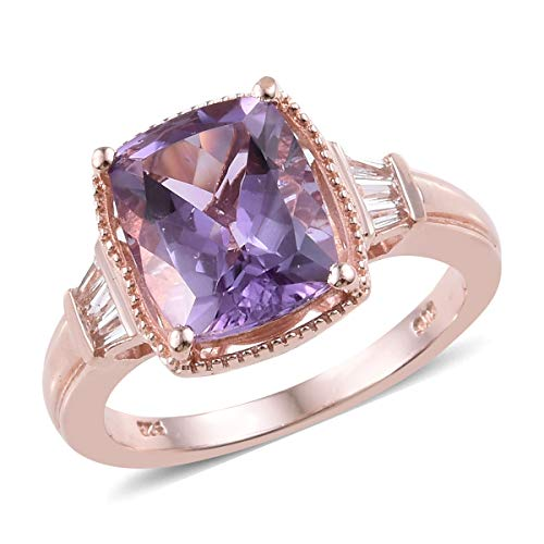 925 Sterling Silver Vermeil Rose Gold Plated Amethyst White Topaz Ring for Women Size 9 Cttw - Vermeil Ring Topaz