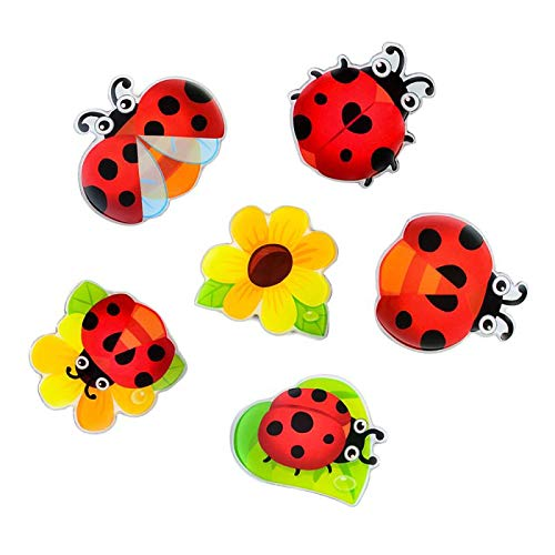 Morcart Refrigerator Magnets Ladybug Magnets 6-Sets Decoration for Lock Cabinet Christmas Gifts Office Supplies Student Locker Coffee Shop Menu Message Board