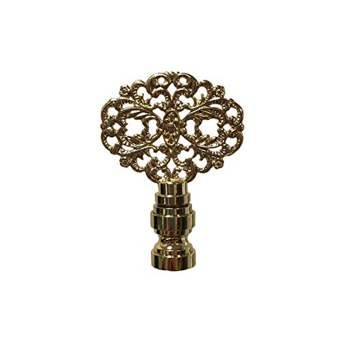 Royal Designs F-5066PB-1 Floral Filigree Design Lamp Finial, Polished Brass
